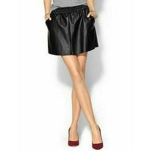NWT BCBG Laika Faux Leather Skater Skirt in Black